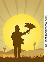 falconry in the desert - illustration of falconry in the...