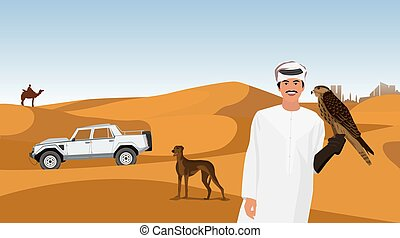 Falconry of the Arab sheiks in the desert - Arab man in...