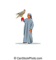 Falconry vector sign - Arab man carrying wild falcon...