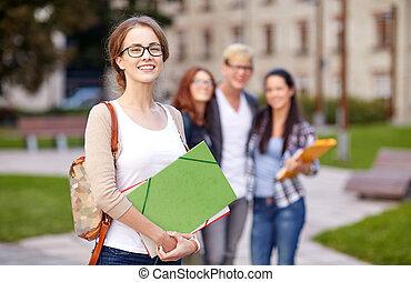falcownicy, studenci, teenage, szkoła, szczęśliwy