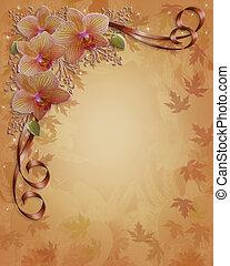 fald, efterår, orkidéer, blomstret grænse