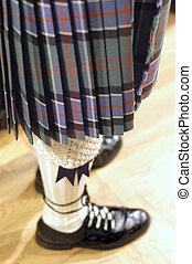falda escocesa, pierna