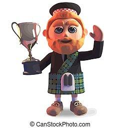 falda escocesa, triunfante, gana, oro, ilustración, hombre,...
