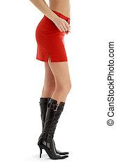 falda, espalda, #2, piernas, dama, rojo
