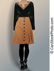falda, mujer negra, shoes, vestido, manguera, panty, blusa, marrón