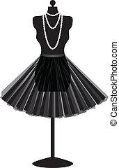 falda negra, maniquí