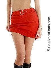 falda, rojo