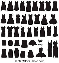 falda, silueta, vestido