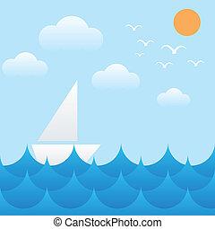 fale, chmura, słońce, niebo, morze, łódka