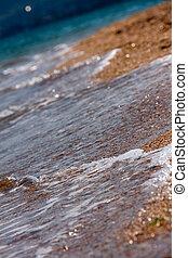 fale, morze, tło, brzeg
