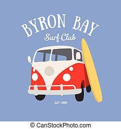 fale przybrzeżne, klub, byron, t-shirt, zatoka