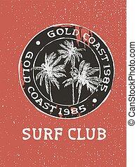 fale przybrzeżne, klub, drzewa, ręka, tłoczyć, dłoń, pociągnięty, surfer