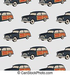 fale przybrzeżne, lato, wallpaper., surfing, stary, wóz, pattern., seamless, odizolowany, tło, samochód, biały