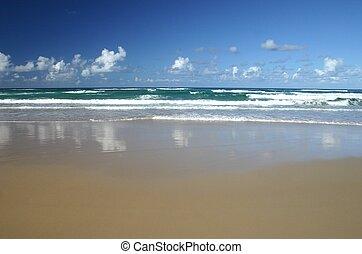 fale przybrzeżne, piasek, fale