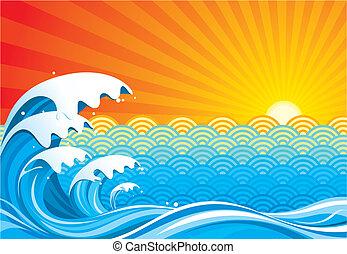 fale przybrzeżne, słońce