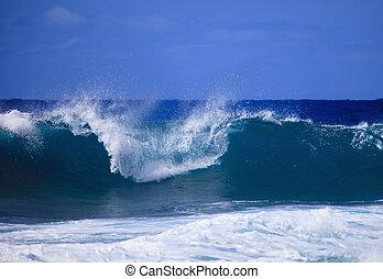 fale przybrzeżne, shor, surges, przeciw, oahu, burza