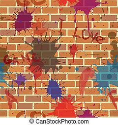 falfirkálás, fal, seamless, festék, koszos, tégla