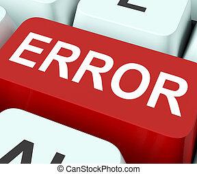 falha, defeitos, tecla, erro, erro, ou, mostra