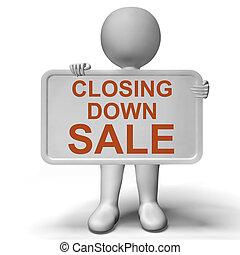 falido, mostrando, sinal venda, baixo, encerramento, loja
