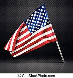 falisty, bandera, usa, przelotny, odizolowany, ilustracja, bandera, wektor, tło, amerykanka, chorągiew, przeźroczysty