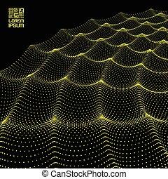 falisty, illustration., cząstka, abstrakcyjny, dynamiczny, particles., tło., wektor, ruszt, fałdzisty, szyk, waves., 3d