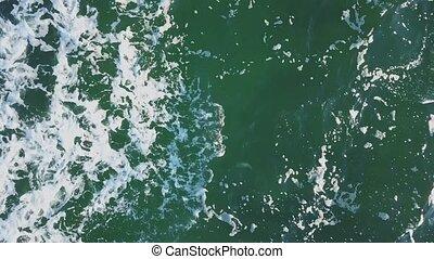 falisty, water., drone., piana, morze, antenowy prospekt, ...