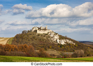 Falkenstein Castle in autumn, Austria