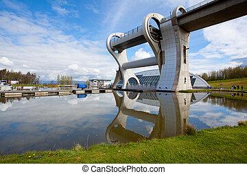 Falkirk Wheel, Scotland UK - Reflection of Falkirk Wheel...