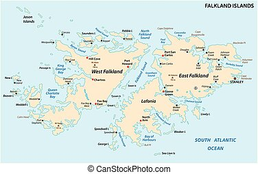 Falkland Islands, also Malvinas, political vector map