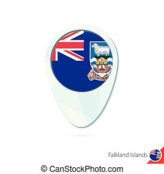 Falkland Islands flag location map pin icon on white...