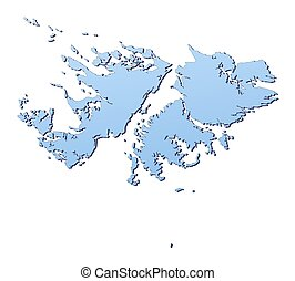 Falkland Islands map filled with light blue gradient. High resolution. Mercator projection.