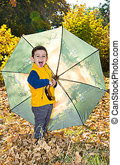 Fall. Adorable toddler boy of two years with umbrella in autumn park
