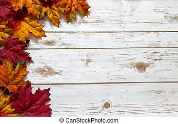 Colorful autumn leaves in red, orange, and yellow border a whitewashed wood plank board with room for copy space