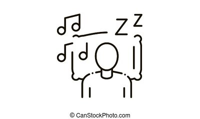 Fall Asleep to Music Icon Animation. black Fall Asleep to Music animated icon on white background