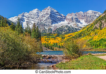 Fall at Maroon Bells - scenic maroon bells near aspen...