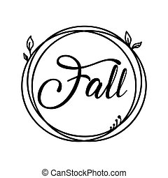 Fall autumn and harvest label circle stamp