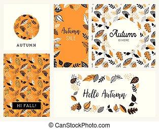 Fall, Autumn season vector illustration, invitation, banner, background set . Vector templates.