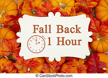 Fall Back 1 hour time change message on a metal sign on pumpkins