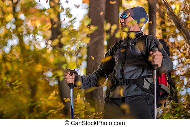 Fall Backcountry Trekker - Caucasian Backpacking Trekker on ...