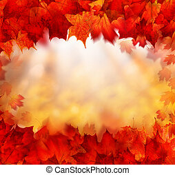 Fall Background Border with Golden Bokeh and Red Autumn Leaves