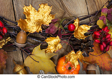 Fall background with golden and colorful maple leaves