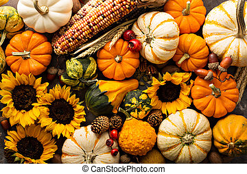 Fall background with pumpkins