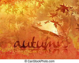 Fall background with umbrella