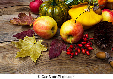 Fall background with yellow squash, barberry and maple leaves