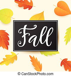 Fall banner template with bright autumn leaves
