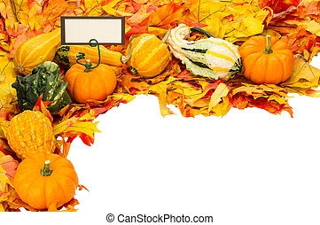 Fall border of leaves and pumpkins with card