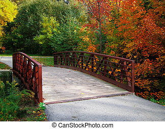 fall bridge - autumn foliage along path and bridge