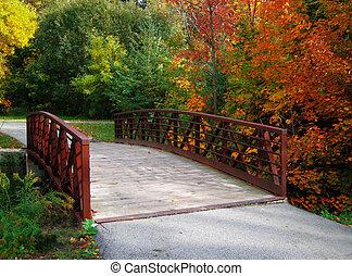 fall bridge - autumn foliage along path and bridge