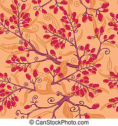 Fall buckthorn berries seamless pattern background