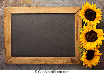 Fall chalkboard frame with pumpkins